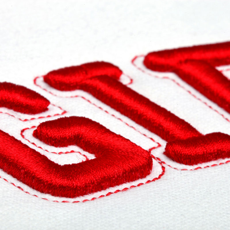 3D embroidery on white polo